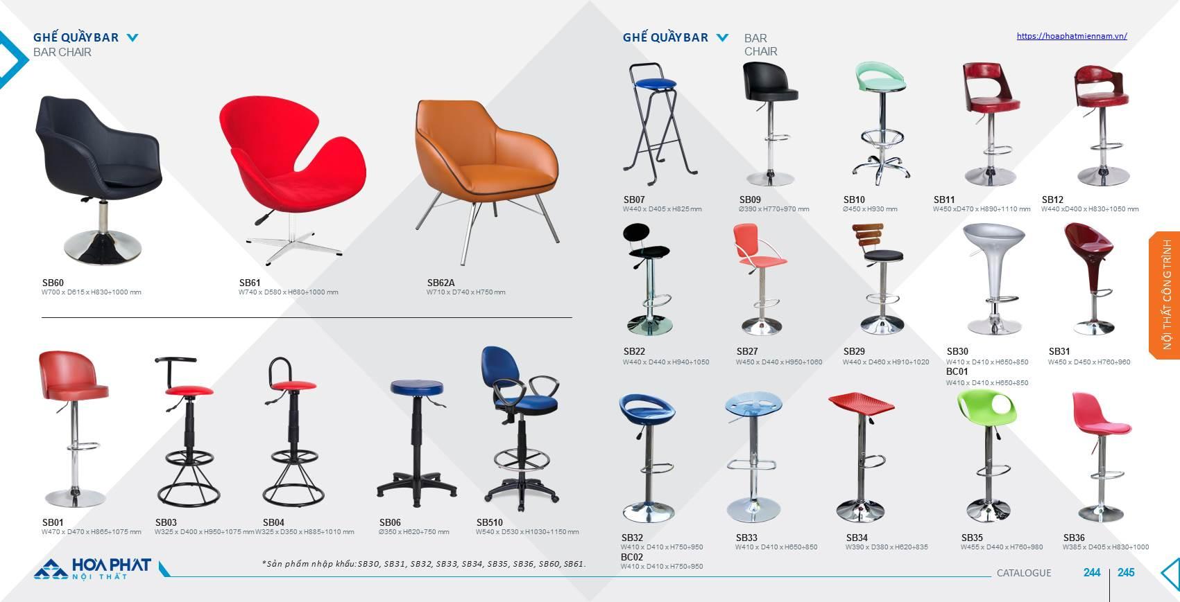 Catalogue ghế quầy Bar Hòa Phát