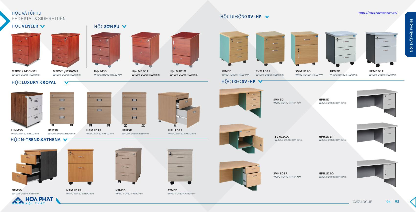 Catalogue hộc tủ phụ Hòa Phát