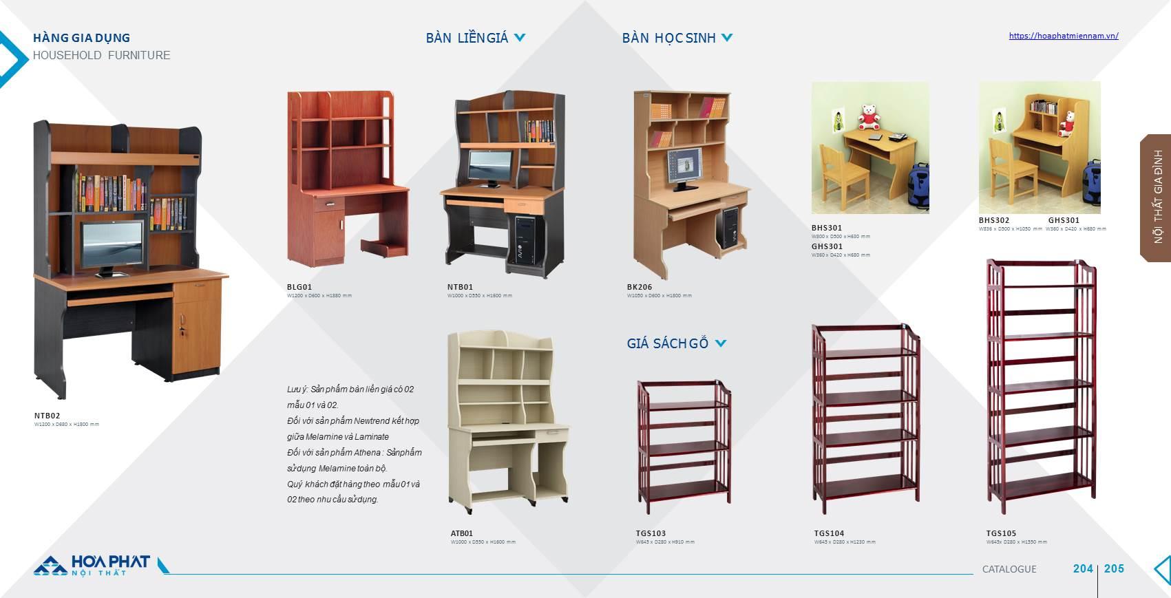 catalogue bàn học Hòa Phát