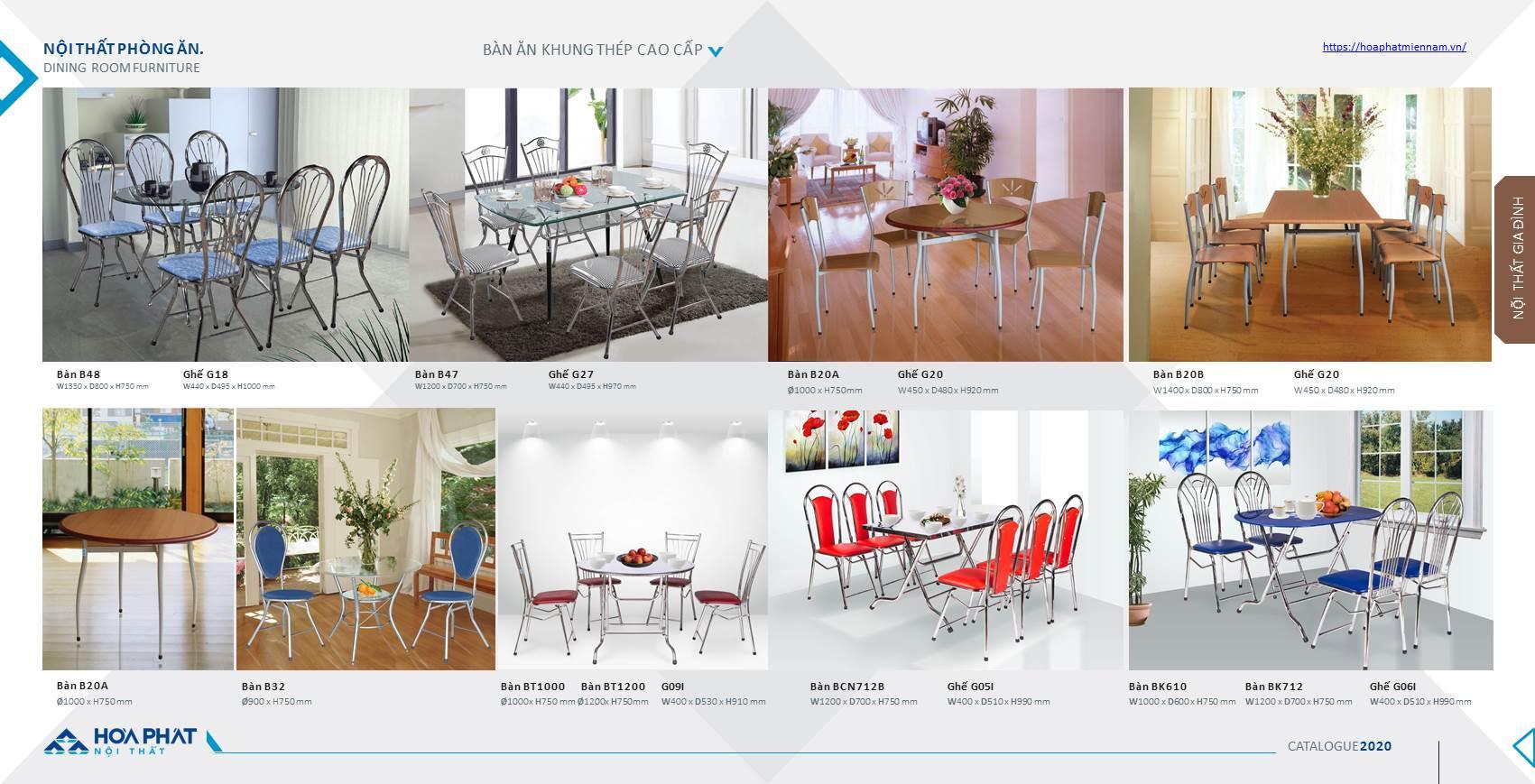 Catalogue bàn ghế ăn Hòa Phát