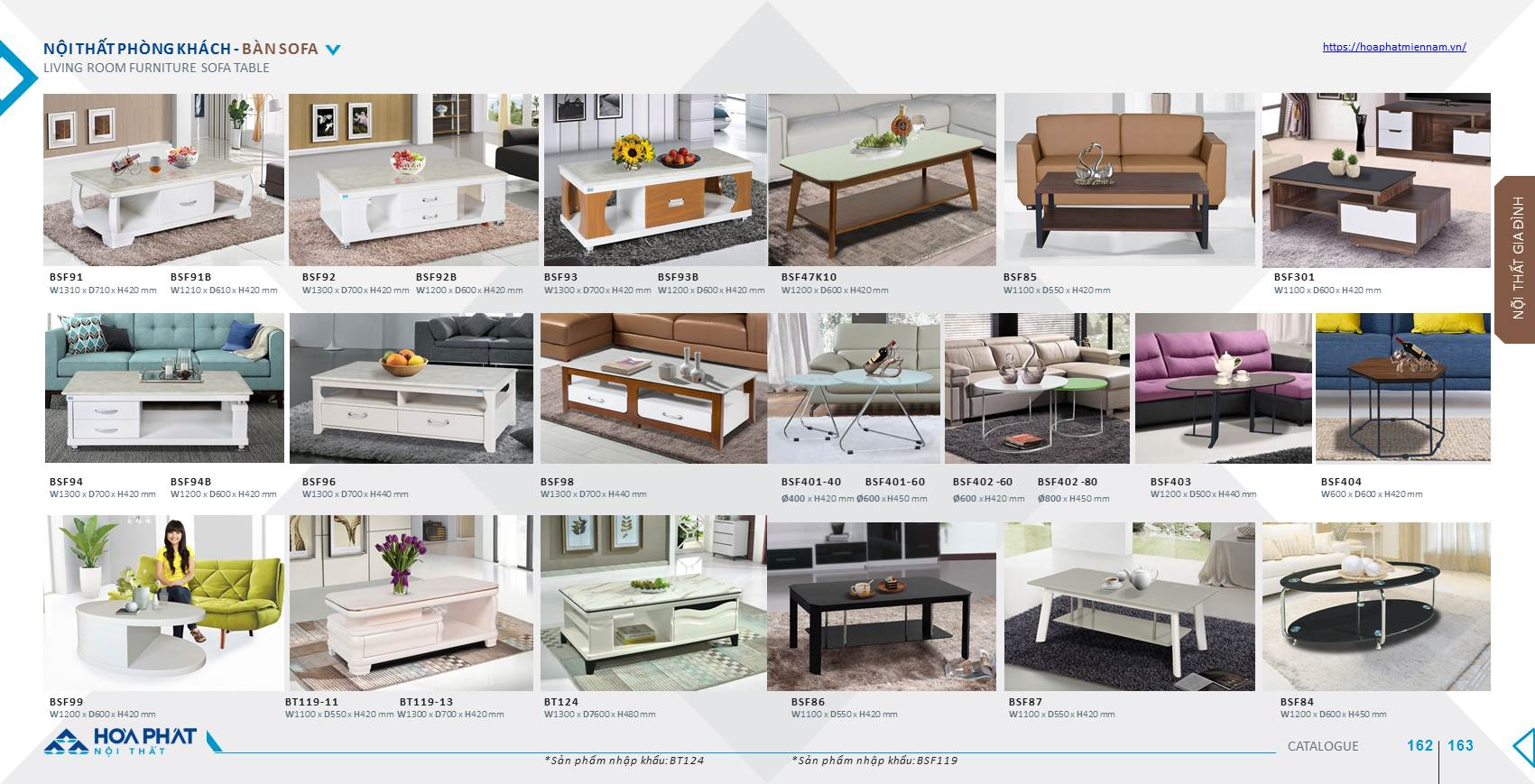 Catalogue bàn ghế phòng khách Hòa Phát