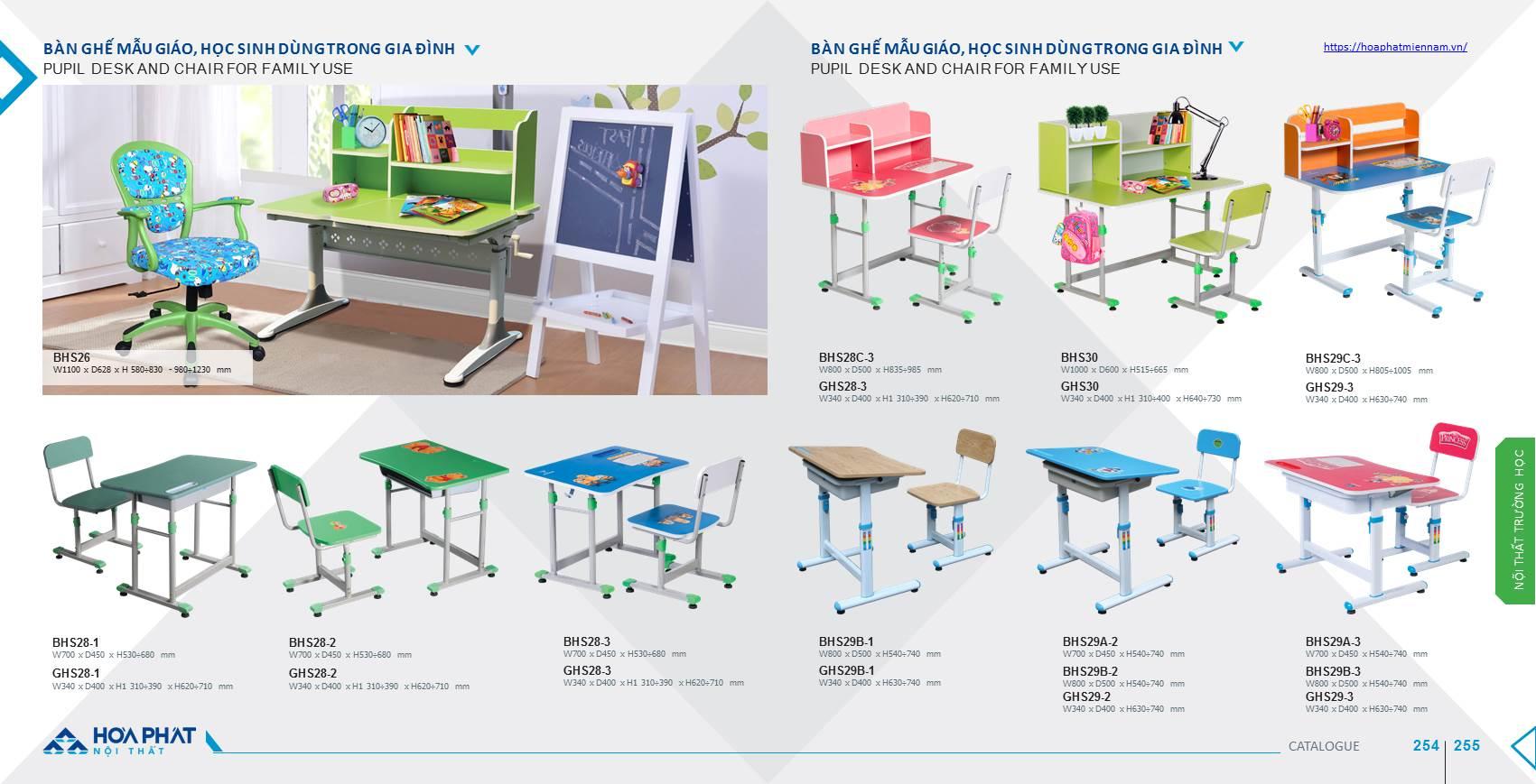 Catalogue bàn ghế học sinh Hòa Phát