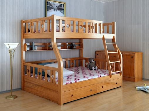 giường 3 tầng gỗ tự nhiên GT320