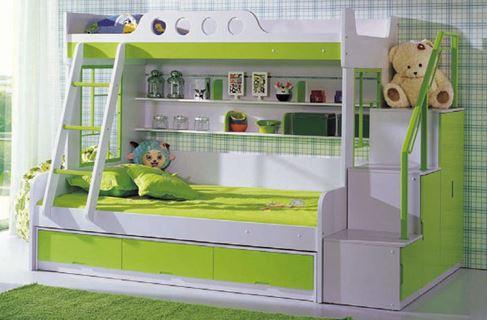 giường 3 tầng màu xanh lá GT311