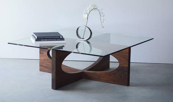 Bàn trà gỗ mặt cường lực nghệ thuật 3