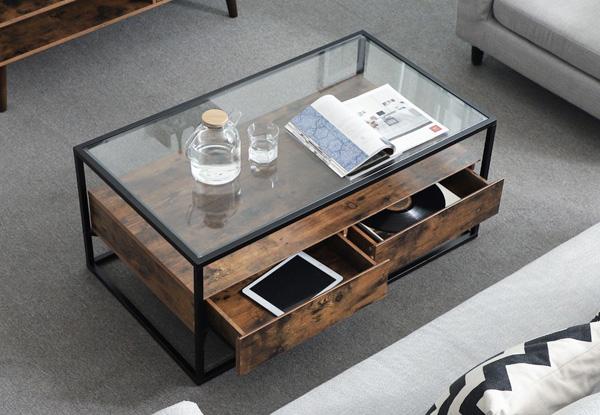 Bàn sofa phòng khách khung sắt mặt kính cường lực bên dưới có đợt gỗ