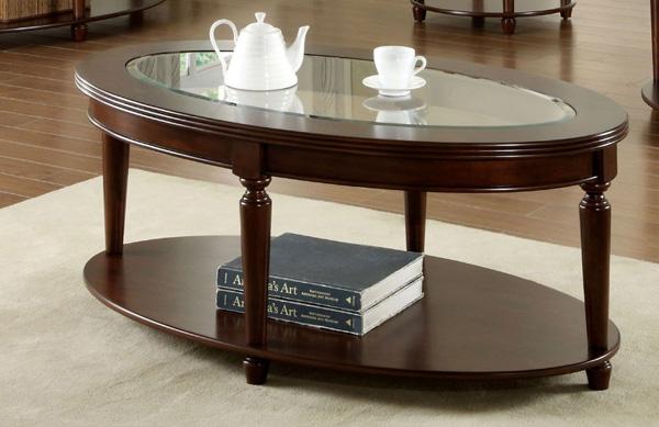 Mẫu bàn trà gỗ mặt kính hình bầu dục