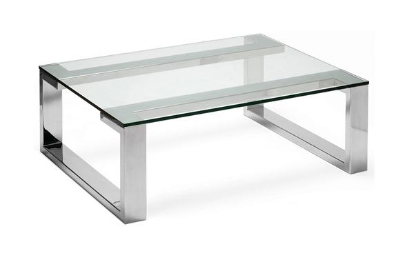 Mẫu bàn trà chân mạ mặt kính chữ nhật