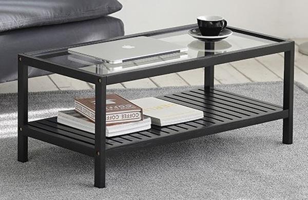 Bàn phòng khách khung sắt mặt kính phong cách đơn giản