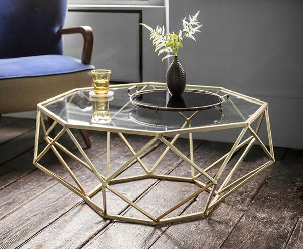 Mẫu bàn sofa kính cường lực mặt hình lập phương nghệ thuật