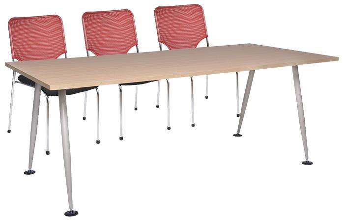 Mẫu bàn làm việc văn phòng 2m HRH2010C8 chất liệu khung chân sắt mặt gỗ công nghiệp Melamine