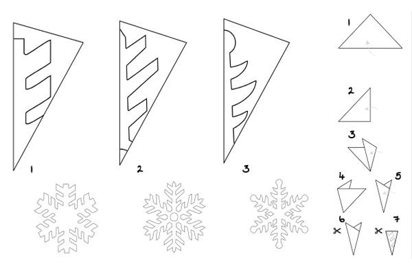 Mẫu cắt hướng dẫn làm đồ trang trí hoa tuyết bằng giấy