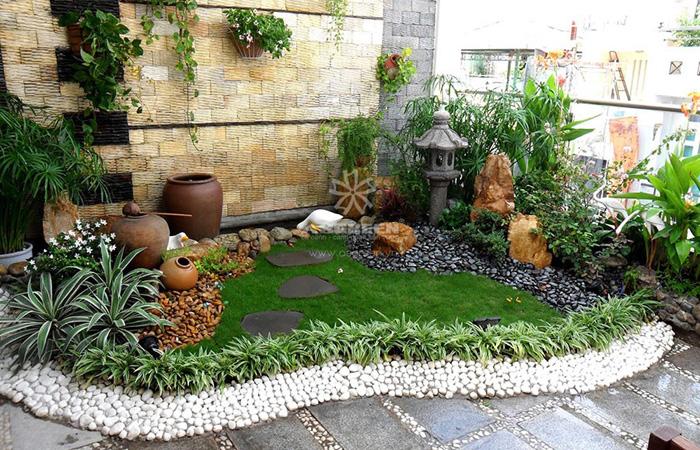 Trang trí sân thượng mô phỏng khung cảnh thiên nhiên với đất – nước – cây cối