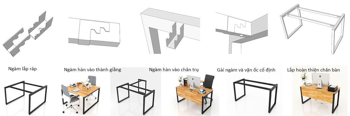 Cơ cấu lắp ráp ngàm bàn văn phòng chân sắt