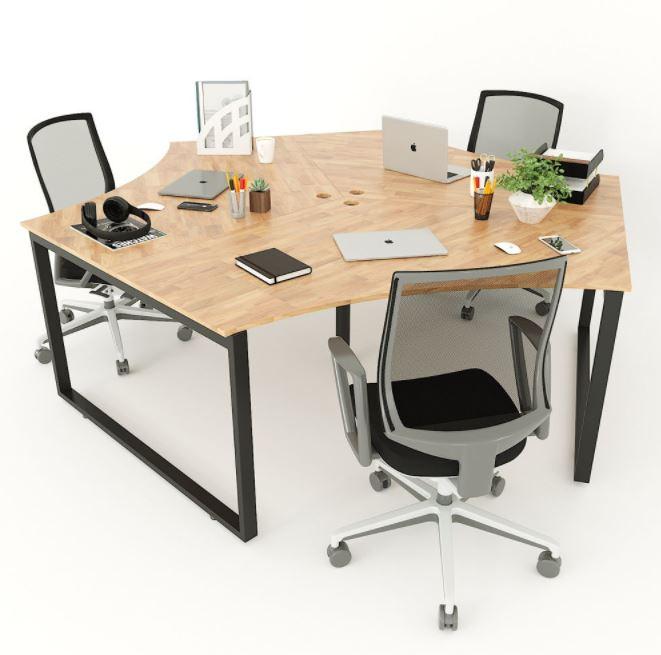 Bàn văn phòng cụm 3 chỗ ngồi hệ Rectang