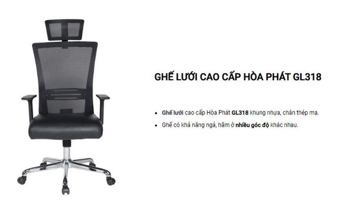 Ghế xoay lưng cao có tựa đầu GL318