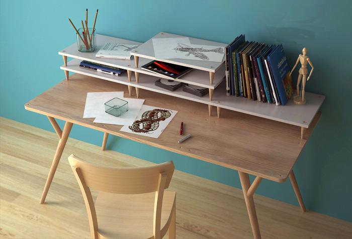 Bàn làm việc tại nhà với thiết kế kệ xếp chồng