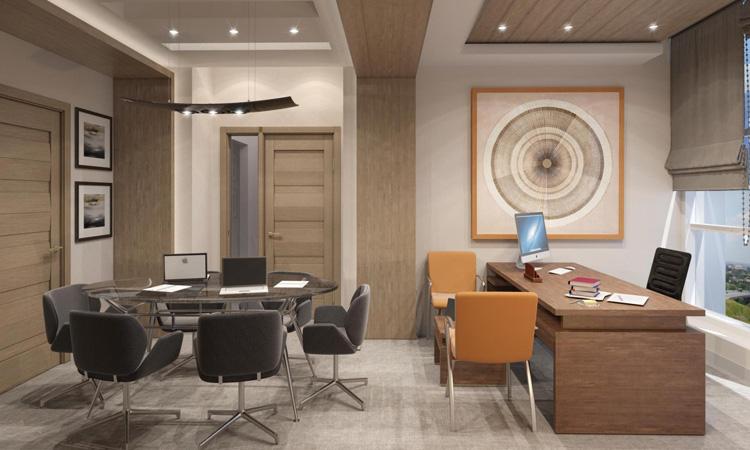 Mẫu trang trí nội thất phòng giám đốc kết hợp phòng họp